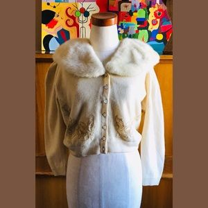 VNTG 50s Rockabilly Pin Up Cardigan Fur Collar WOW